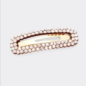 Rectangle Snap Hair Clip Round Stone Embellished